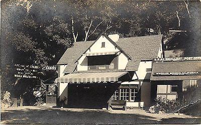 c1940 RPPC Wheeler Springs CA World's Smallest Post Office & Store Ventura Co.