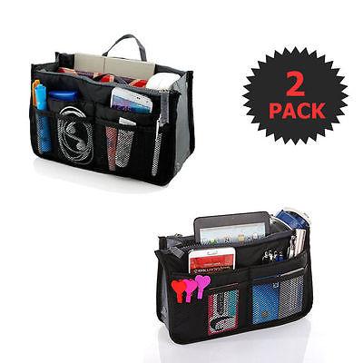 Black 2 X Large Purse Organizer Insert Pack Women Travel Set Handbag Liner Tidy