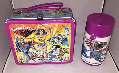 Vintage Aladdin 1976 Super Friends -Metal Lunch Box AND Thermos
