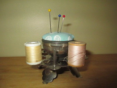 Antique Metal Sewing Notion Pin Cushion and Spool Thread Holder/thimble holder