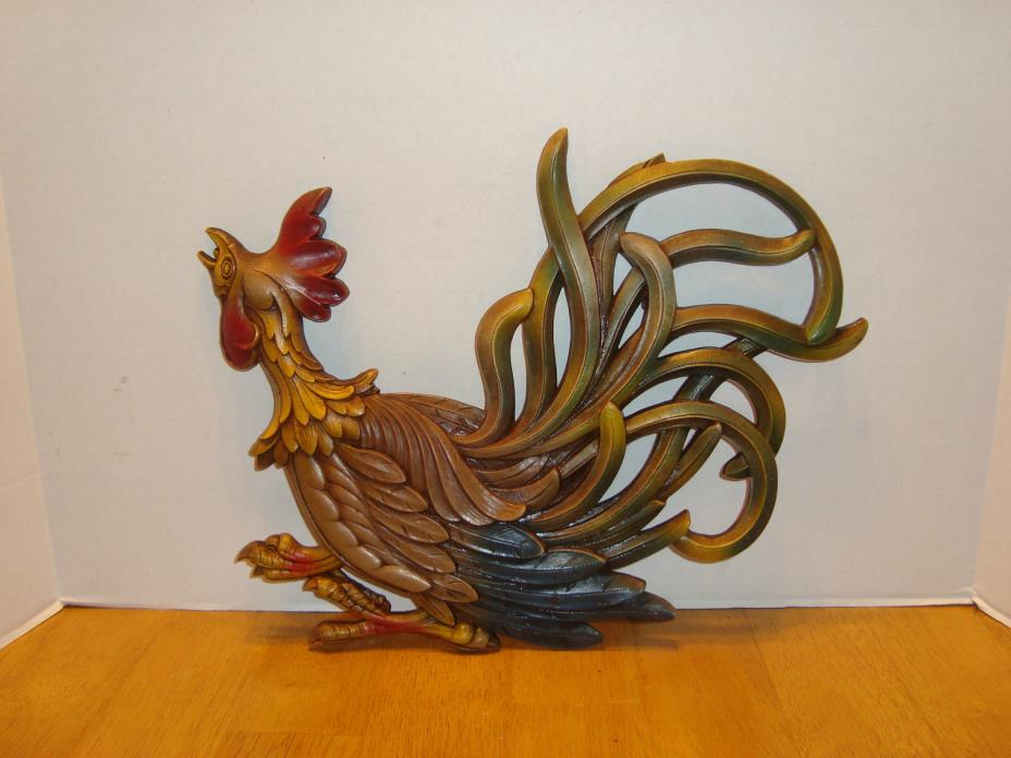 MID CENTURY DECOR VTG 1960's SYROCO ROOSTER  Wall Hanging