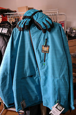 686 Men's Plexus Hydra Thermagraph Snowboard Jacket NEW w/ gloves rare blue XL