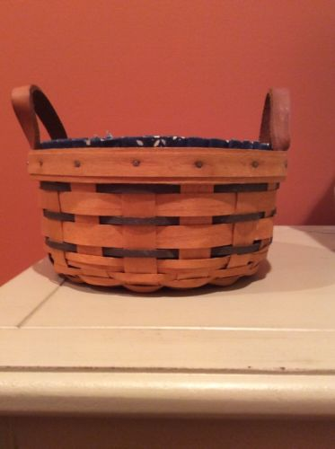 Longaberger Button Basket With Plastic Protector And Fabric Liner GUC