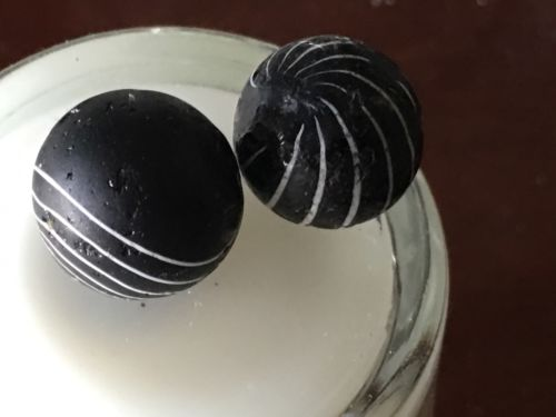 Two Black Clambroth Marbles Smaller Than 5/8 Inch But Not Peewee
