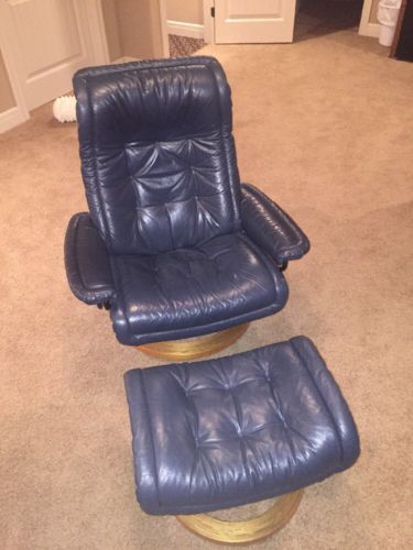 Ekornes Stressless Recliner & Ottoman Royal Marine Leather Large Size