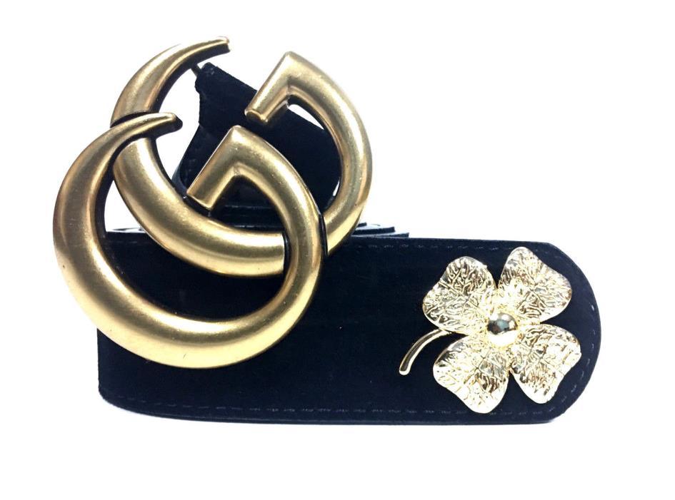 RETAIL $550 Black Suede Four-Leaf Clover Gucci Belt Brass double G buckle Men