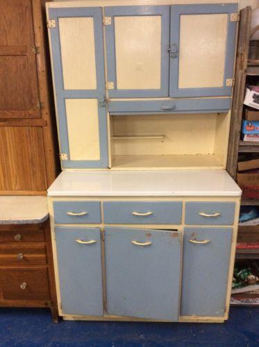 Sellers Cabinet, Vintage Blue & White, Hoosier Kitchen Cabinet, Nice.