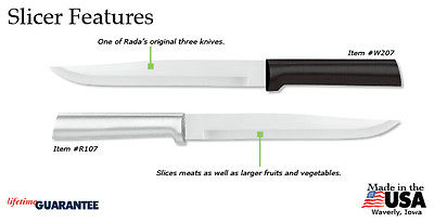 Rada Slicer Knife R107 USA made + durable L/R handed, Meat Cutting + Veggies NEW