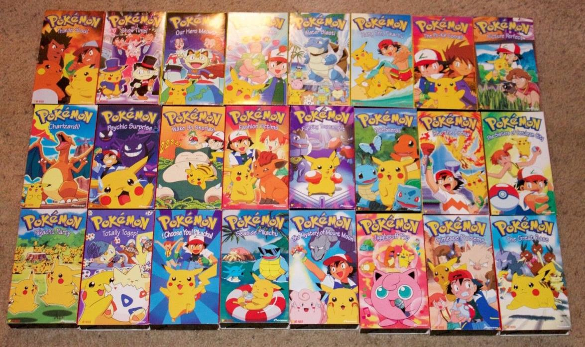 Pokemon Original Series VHS Lot of 24 Tapes Nintendo Complete 3 Episodes Each TV