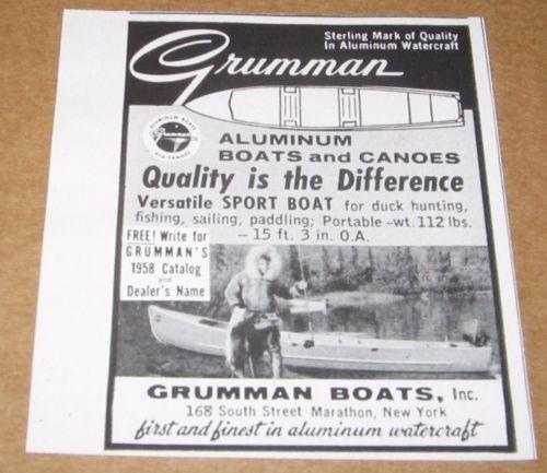 1958 Print Ad Grumman Aluminum Boats & Canoes Marathon,NY