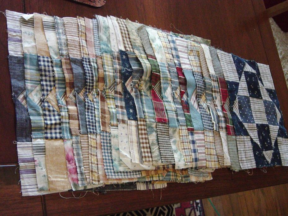 Antique Hand-Sewn Quilt Blocks, Set of 24