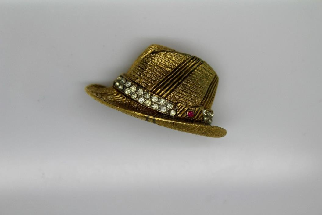 BSK My Fair Lady Fedora Hat Brooch