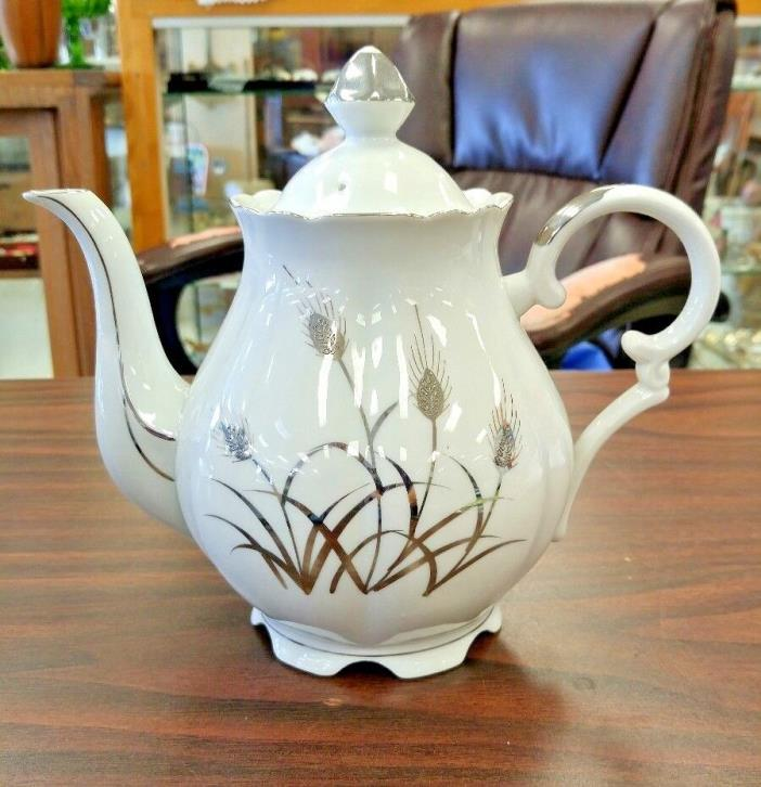 LEFTON CHINA PLATINUM WHEAT TEAPOT - STUNNING