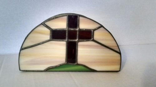 Vintage Stained Glass Cross Napkin Holder Easter Celebration Beautiful