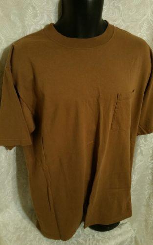 DICKIES Brown Duck Work Tee Shirt Large Short Sleeve Heavy