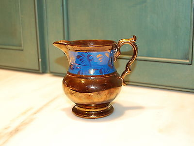Antique English Copper Luster Blue Leaf Band Pottery Pitcher
