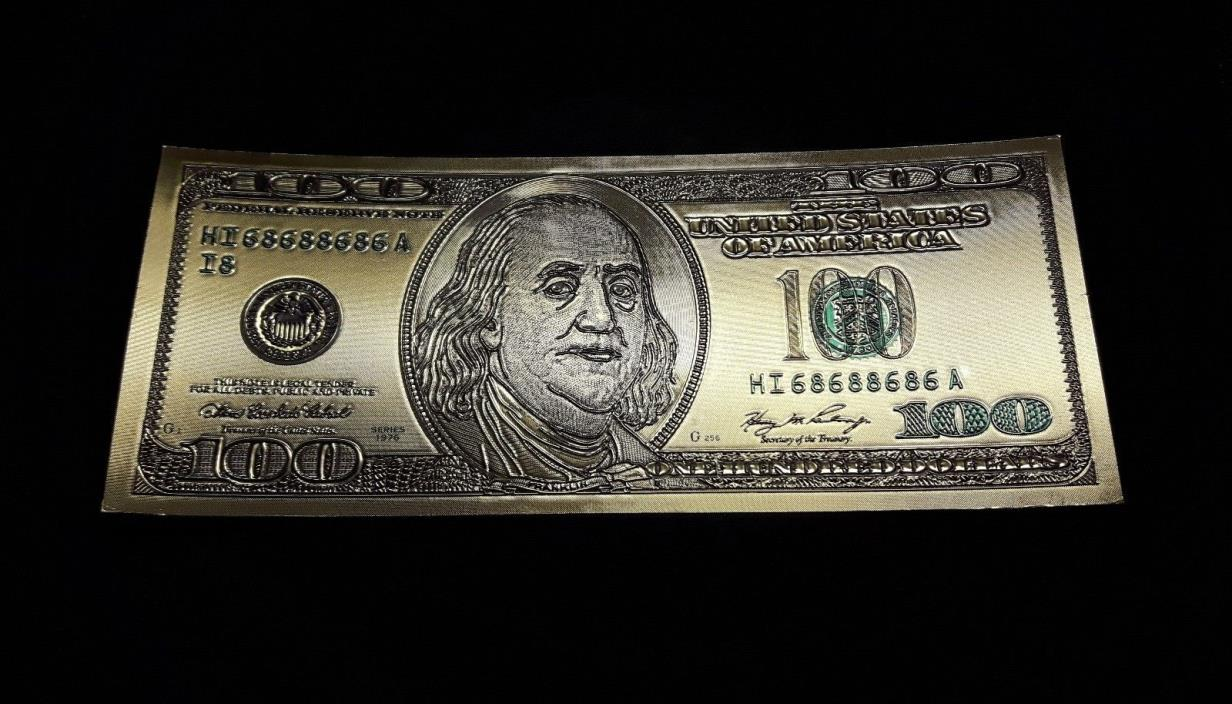 24 k GOLD PLATED $100 DOLLAR BILL USA 1976