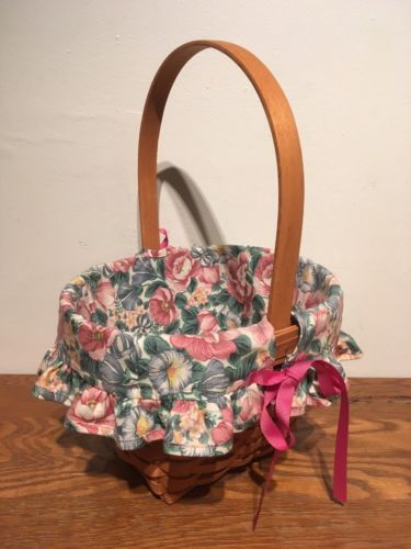 Longaberger 1993 Mothers Day Basket With Floral Fabric Liner