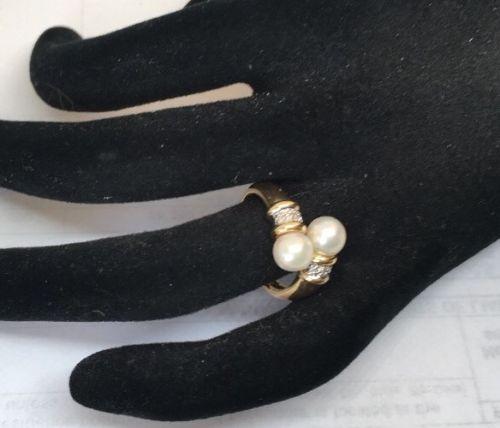 14k YG Akoya Pearl And Diamond Bypass Ring Designer Ring