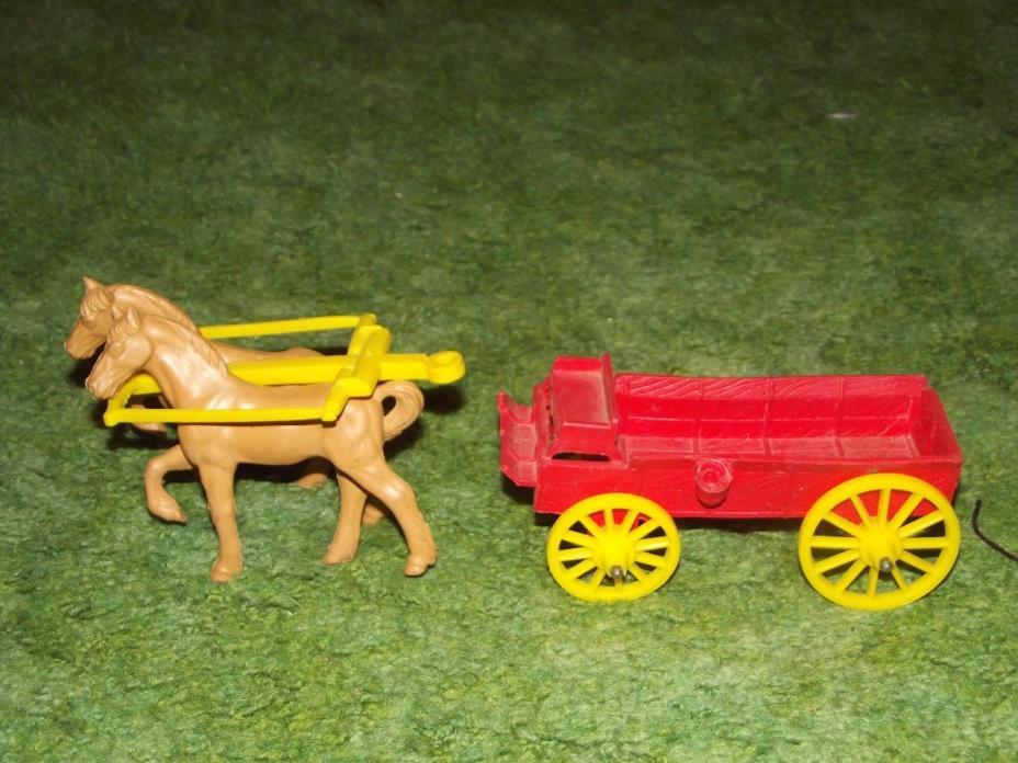 Vintage Auburn Rubber Western Farm Buckboard Toy Wagon and Horse