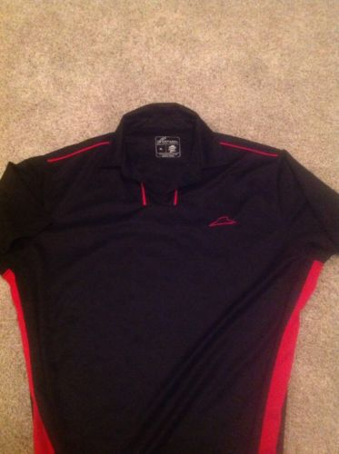 Pizza Hut Black Red Employee Uniform Driver V-Neck Polo Shirt Men's XL Vintage