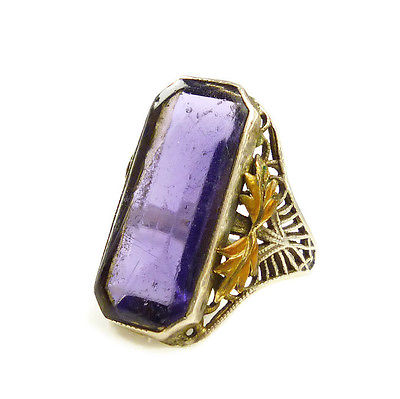 Edwardian Sterling Filigree Amethyst Glass Gold Plated Laurel Leaf Ring Size 4.5