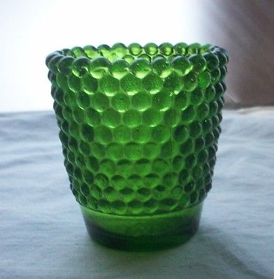 GREEN BUBBLE GLASS TOOTHPICK HOLDER