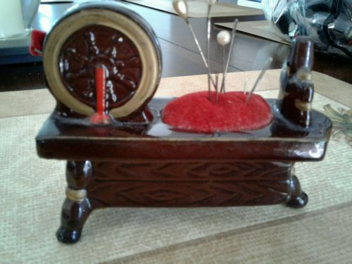 Vintage Ceramic spinning wheel Pin Cushion and Tape Measure Made in Japan