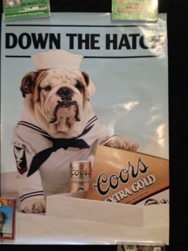 Coors Beer Bulldog Poster Budweiser Schlitz Cute Dog Puppy Display Olympia