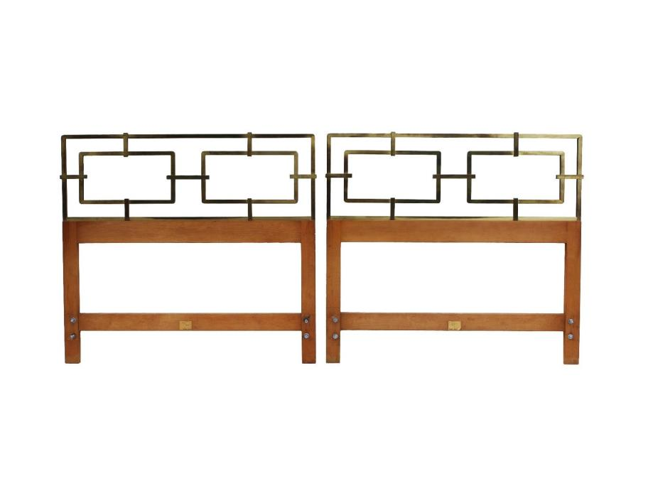 Pair Kittinger Hollywood Regency Twin Headboards Solid Brass King Mastercraft