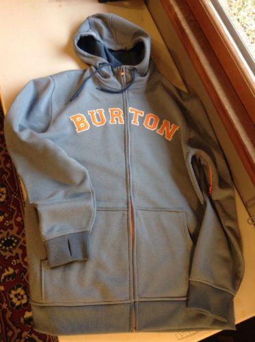 Burton Snowboarding Dry Ride Hoodie Heather Grey Orange Zip Up Large L Warm
