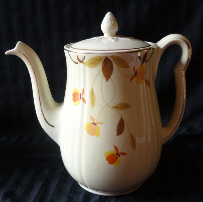 Hall China Vintage Autumn Leaf Rayed Teapot Long Spout