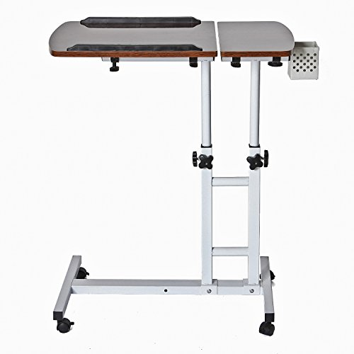 CA&HomeDecor Height Adjustable Rolling Laptop Desk Cart Over Bed Hospital Table