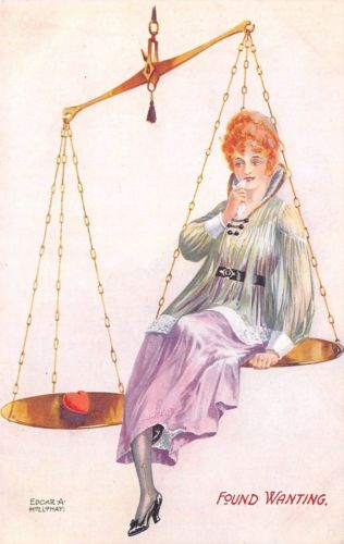 Edgar A Holloway~Lovely Redhead Lady in the Scales~