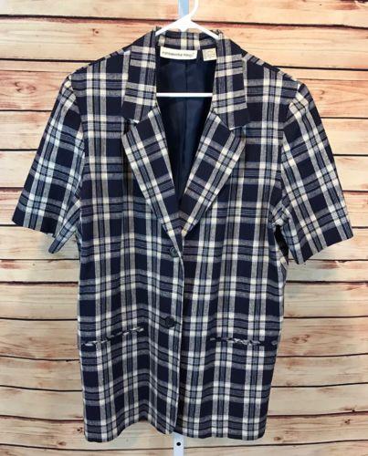 Fundamental Things Blazer Jacket SS Linen Plaid Blue Career Women's Size 14