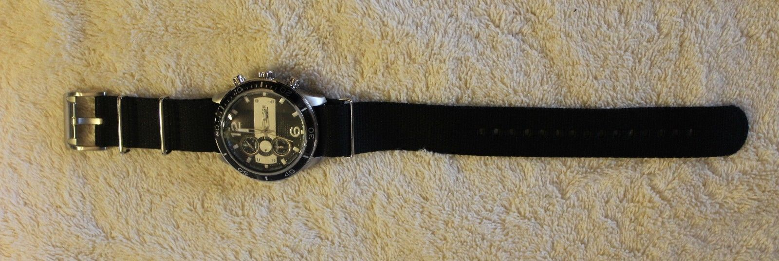 New FOSSIL Watch Black Band Silver Tone Men's Chronograph