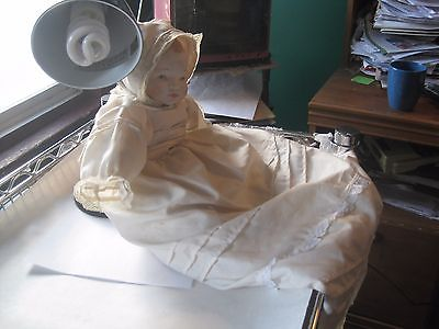 Vintage Bisque Baby Doll Painted Hair with Dress & Bonnet
