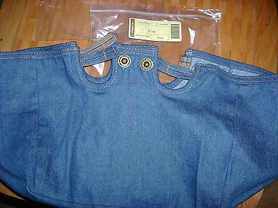 Longaberger TWO HANDLE CAKE BASKET Liner DENIM OTE New MIB