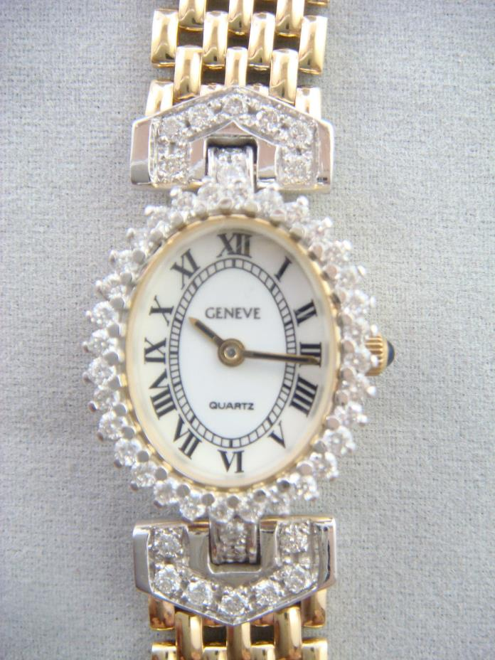 14k yellow gold women's Swiss Geneve diamond watch