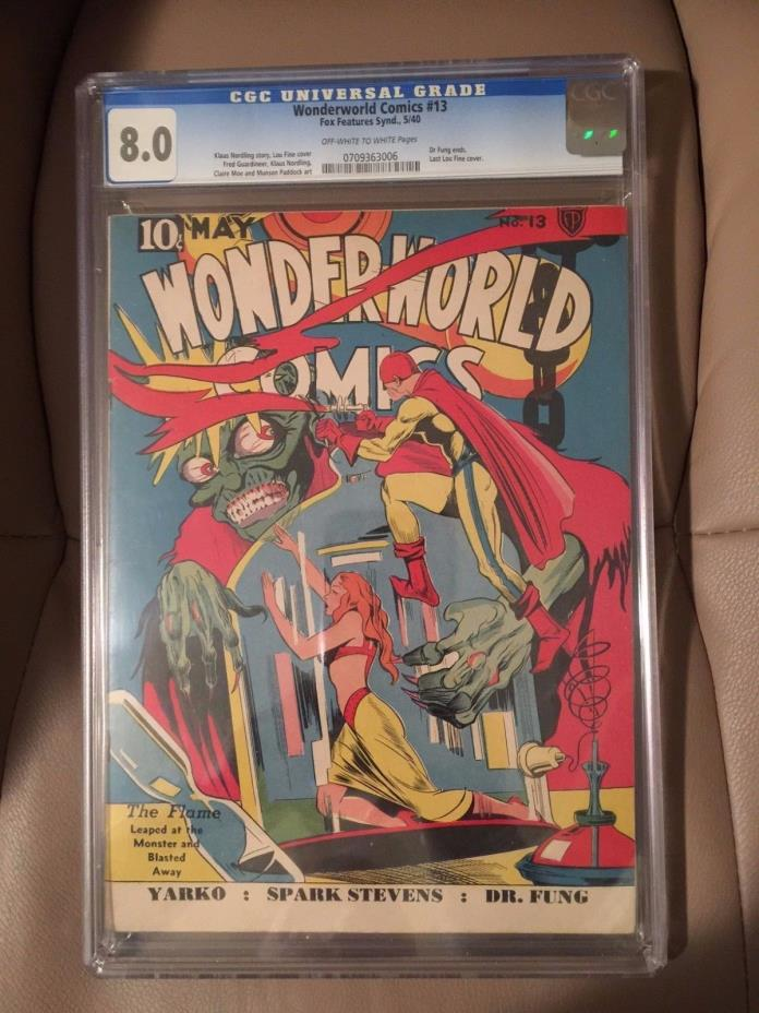 WONDERWORLD Comics #13 CGC 8.0 Fox May 1940 Lou Fine Monster Sci Fi Lab GG Cover