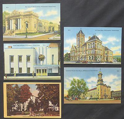 Lot (5) Williamsport, PA, Linen Views, Library, Seminary, Post Office