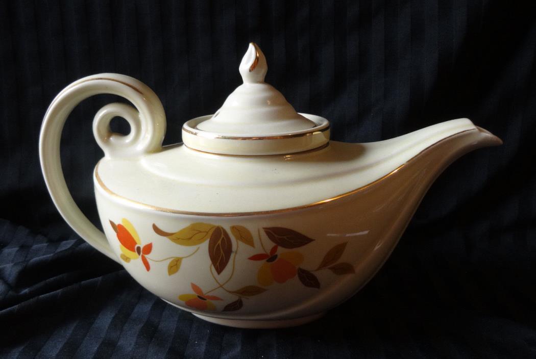 Hall China Vintage Autumn Leaf Aladdin Teapot