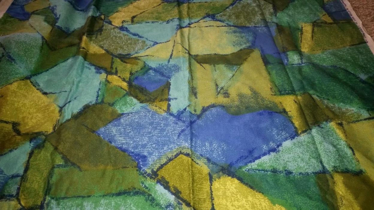 RARE Vintage DuPont Savalux Preshrunk Screen Print Fabric Greens Blues 44x2.5yd