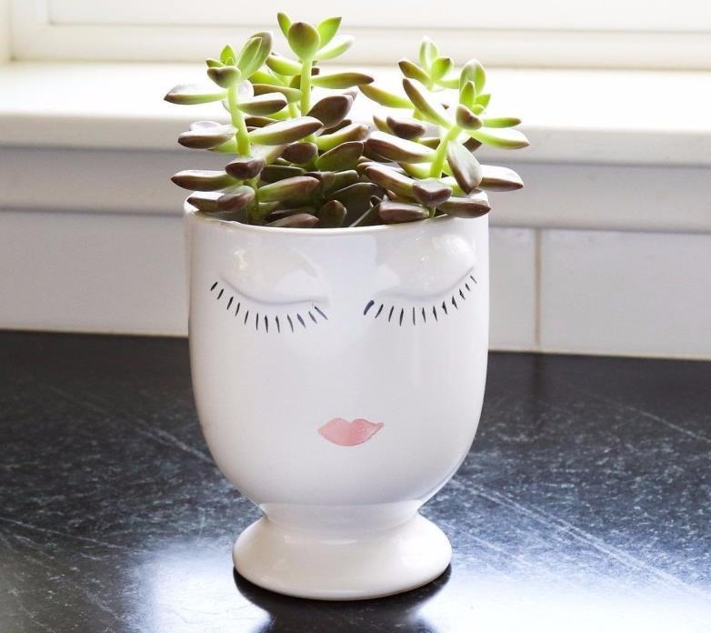 Brand New Ceramic Celfie Face Vase, Succulent Vase, Size Large