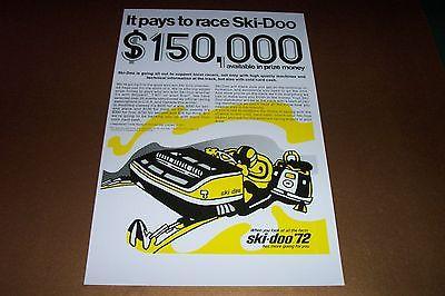 72 SKI-DOO BLIZZARD RACE SNOWMOBILE POSTER     vintage race Sno-Machine....
