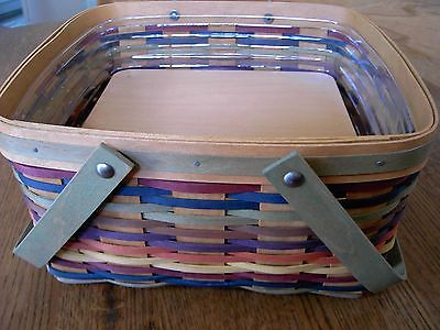 Longaberger CAKE BASKET Multi Colored weave, riser and Protector set   ~NEW~