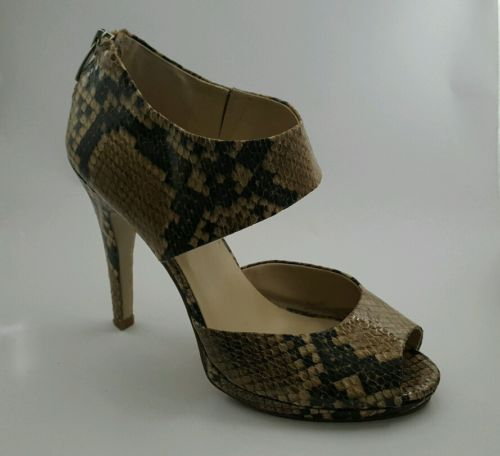 Nine West sz 7.5 Python Snake Shoes Heels Open Toe NW7JINGLESM Back Zip Ankle