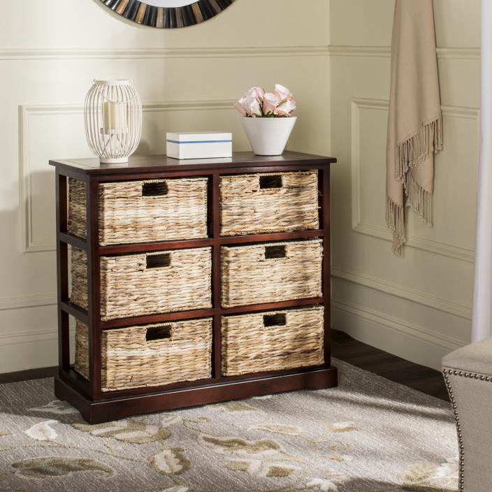 New Solid Wood Cherry Finish Frame with 6 Wicker Baskets Chest Cabinet Kitchen