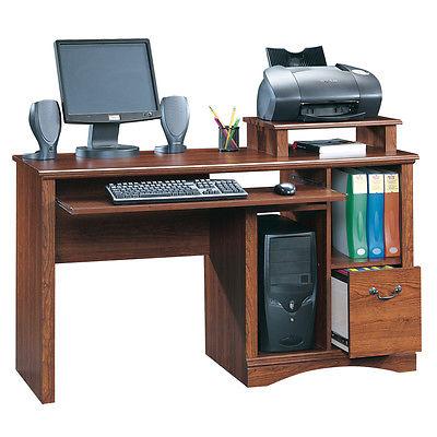 Sauder Camden County Computer Desk in Planked Cherry
