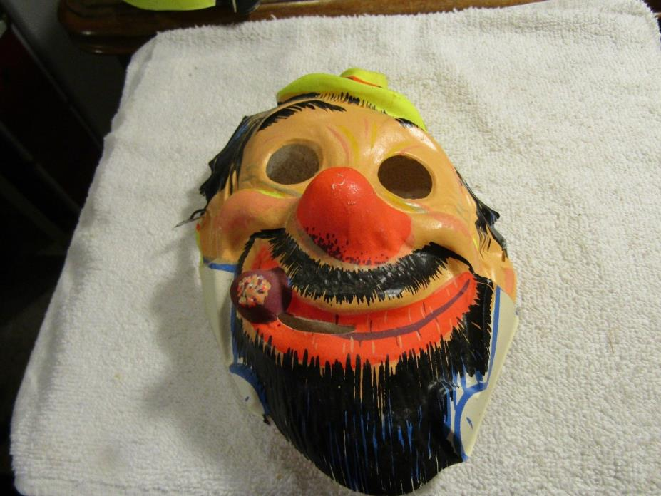 Vintage Collegeville Halloween Mask Clown with Hat Cigar with Elastic Band 1960s